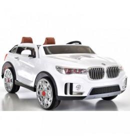 Automobil na akumulator BMW X7 beli sa kožnim sedištima i mekim gumama