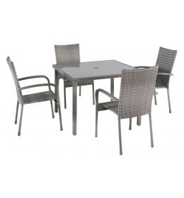Baštenska Garnitura Avola Siva 4 stolice i sto