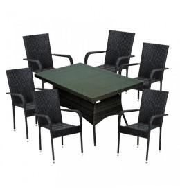 Baštenska garnitura Bay sto i 6 Bay stolica crna
