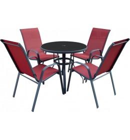 Baštenska Garnitura Como crvena - 4 Stolice i Sto Sa Staklom