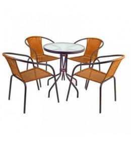 Baštenska garnitura Marrone 4 stolice i sto