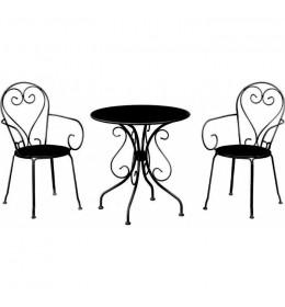 Baštenska garnitura Moka 2 stolice i 1 sto crna