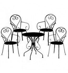Baštenska garnitura Moka 4 stolice i 1 sto crna