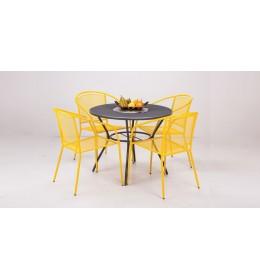 Baštenska Garnitura Od Metala Arko žuta - 4 Stolice i Sto