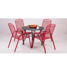 Baštenska garnitura Sunshine crvena 4 stolice i sto