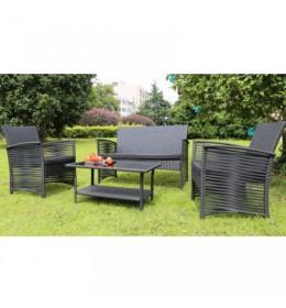 Baštenski set Toledo- 2 Fotelje, Sofa i Sto sa staklom sivi