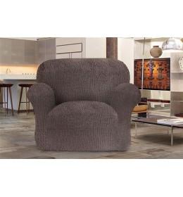 Bielastična presvlaka za fotelju braon