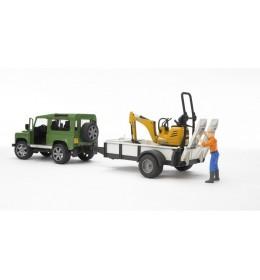 Bruder Džip Land Rover sa prikolicom i JCB mini bagerom i figurom