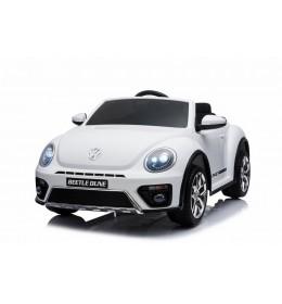 Dečiji automobil na akumulator Volkswagen Buba beli sa kožnim sedištem i mekim gumama