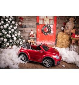 Dečiji automobil na akumulator Volkswagen Buba crveni sa kožnim sedištem i mekim gumama