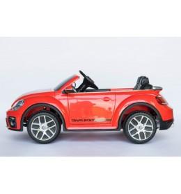 Dečiji autić na akumulator VW Buba sa kožnim sedištem i sa ojačanim PVC točkovima crvena