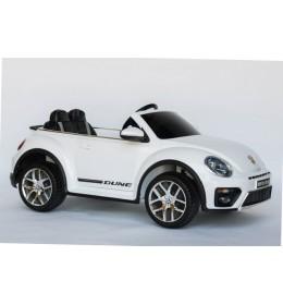 Dečiji autić na akumulator VW Buba sa kožnim sedištem i sa ojačanim PVC točkovima bela