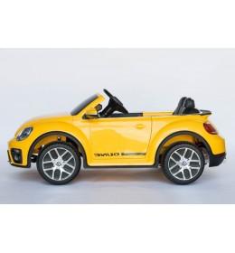 Dečiji autić na akumulator VW Buba sa kožnim sedištem i sa ojačanim PVC točkovima žuta