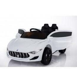 Dečiji auto na akumulator Maserati beli kožno sedište i meke gume