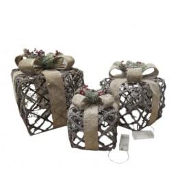 Dekorativne svetleće mrežaste poklon kutije LEd osvetljenje set 3 komada
