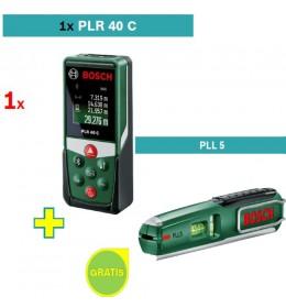 Digitalni laserski daljinomer Bosch PLR 40 C + Laserska libela sa mernom trakom PLL 5 Bosch