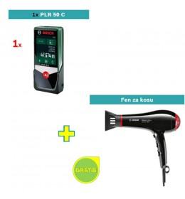 Digitalni laserski daljinomer Bosch PLR 50 C + Bosch fen za kosu GRATIS