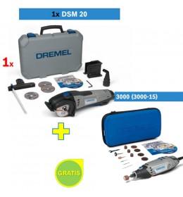 Dremel sekač DSM 20 + Višenamenski alat DREMEL 3000 sa 15 kom pribora