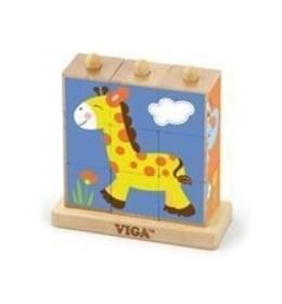 Drvene kocke (puzle) s postoljem divlje životinje 9 kom