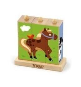 Drvene kocke (puzle) s postoljem domaće životinje 9 kom
