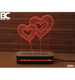 3D lampa Dva Srca crvena