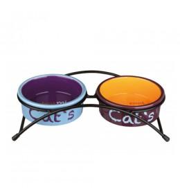 Dve keramičke posude za mačke na stalku