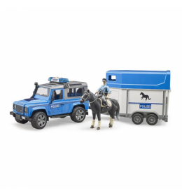 Džip Land Rover policijski sa prikolicom i konjem Bruder 025885