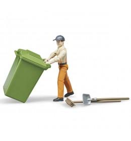 Figura čovek sa kantama za smeće Bruder