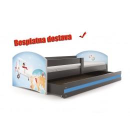 Dečiji krevet Lookie Graphite 160x80 cm sa dušekom dezen 01