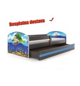 Dečiji krevet Lookie Graphite 160x80 cm sa dušekom dezen 04