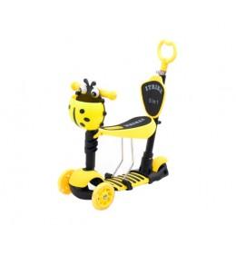 Trotinet za decu 5 u 1 sa sedištem i svetlećim točkovima Žuta