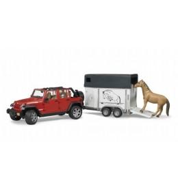 Jeep Wrangler  sa prikolicom za konje i fugurom BRUDER