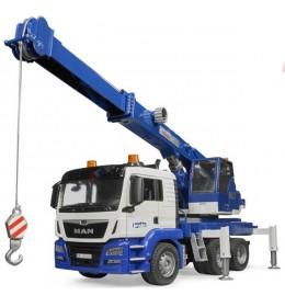 Kamion MAN TGS kran plavo beli Bruder 037703