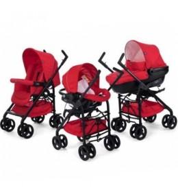 Kolica za bebe trio sistem (auto sedište + nosiljka + kolica) Chicco Sprint red passion