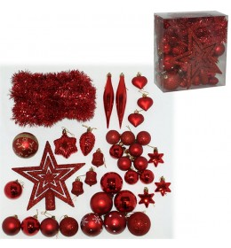 Komplet ukrasa za jelku 36 komada crvene boje