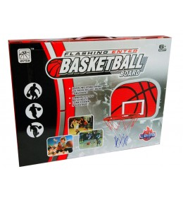 Košarkaška crvena tabla sa obručem i loptom za decu