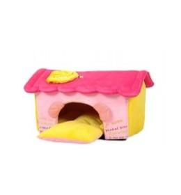 Krevet kućica za pse žuta i roza