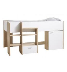 Krevet povišen LUNA 90x200 bela/hrast