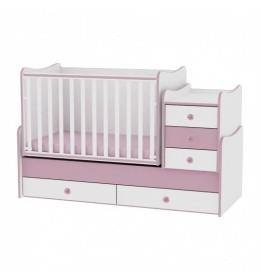 Krevetac za bebu drveni Maxi Plus roze beli