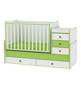 Krevetac za bebu drveni Maxi Plus zeleno beli