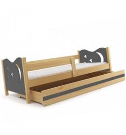 Dečiji krevet Elegant Pine sivi 160x80 cm sa fiokom i dušekom