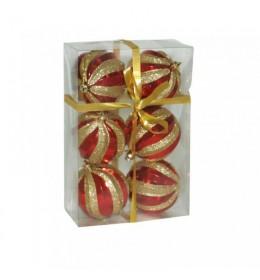 Kuglice crveno-zlatne 8cm