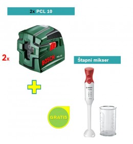 Laser za ukrštene linije Bosch PCL 10 2KOM  + Bosch štapni mikser GRATIS