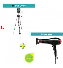 Laser za ukrštene linije Bosch PCL 20 Set + Bosch fen za kosu GRATIS