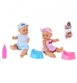Lutka beba koja pije i piški Loko toys 32 cm PLAVA