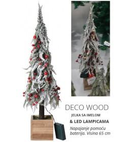 Novogodišnja jelka u saksiji Deco Wood sa lampicama 65 cm