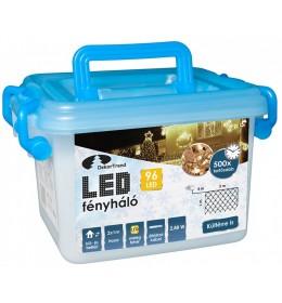 Novogodišnja LED svetleća mreža hladno bela 1x2m za spoljašnju i unutrašnju upotrebu sa providnim kablom