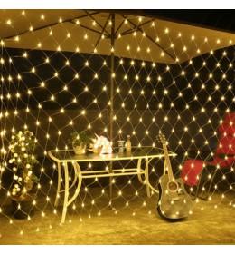 Novogodišnja LED svetleća mreža toplo bela 2x2m za spoljašnju i unutrašnju upotrebu