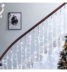 Novogodišnja LED svetleća zavesa sa providnim kablom hladno bela 1,5x1,5m spoljašnju i unutrašnju upotrebu