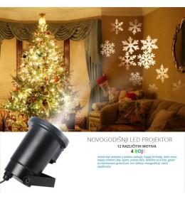 Novogodišnji LED Projektor Sa 12 Motiva i 4 Boje